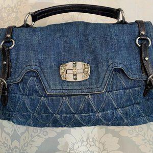 MIU MIU Denim & Leather/Chain Strap Top Handle Bag